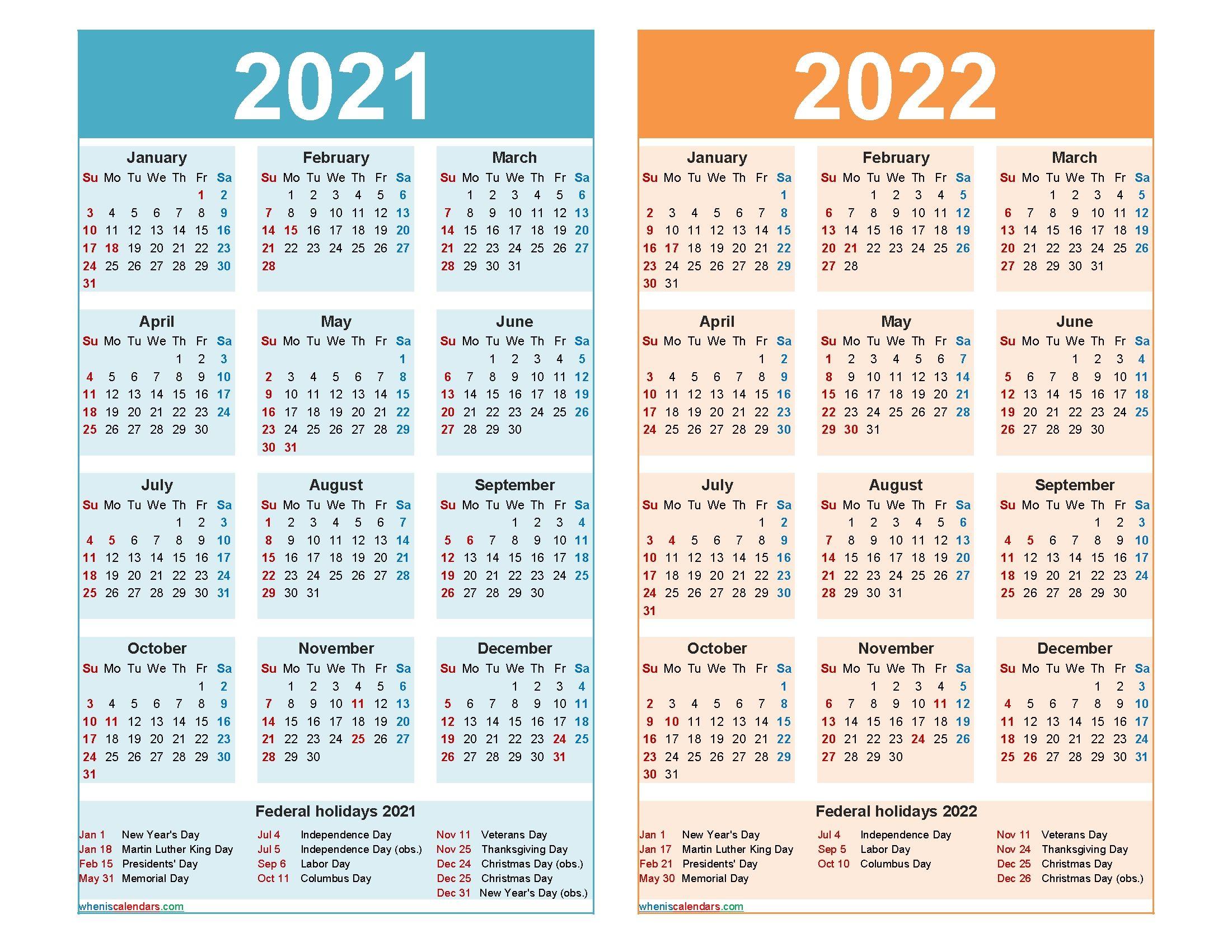 Work Week Calendar 2022.2021 And 2022 Calendar Printable Word Pdf Free