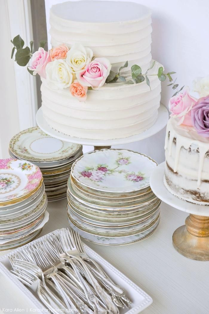 Vintage Tea Plates Cake At A Floral Chic Baby Blessing Luncheon By Kara Allen