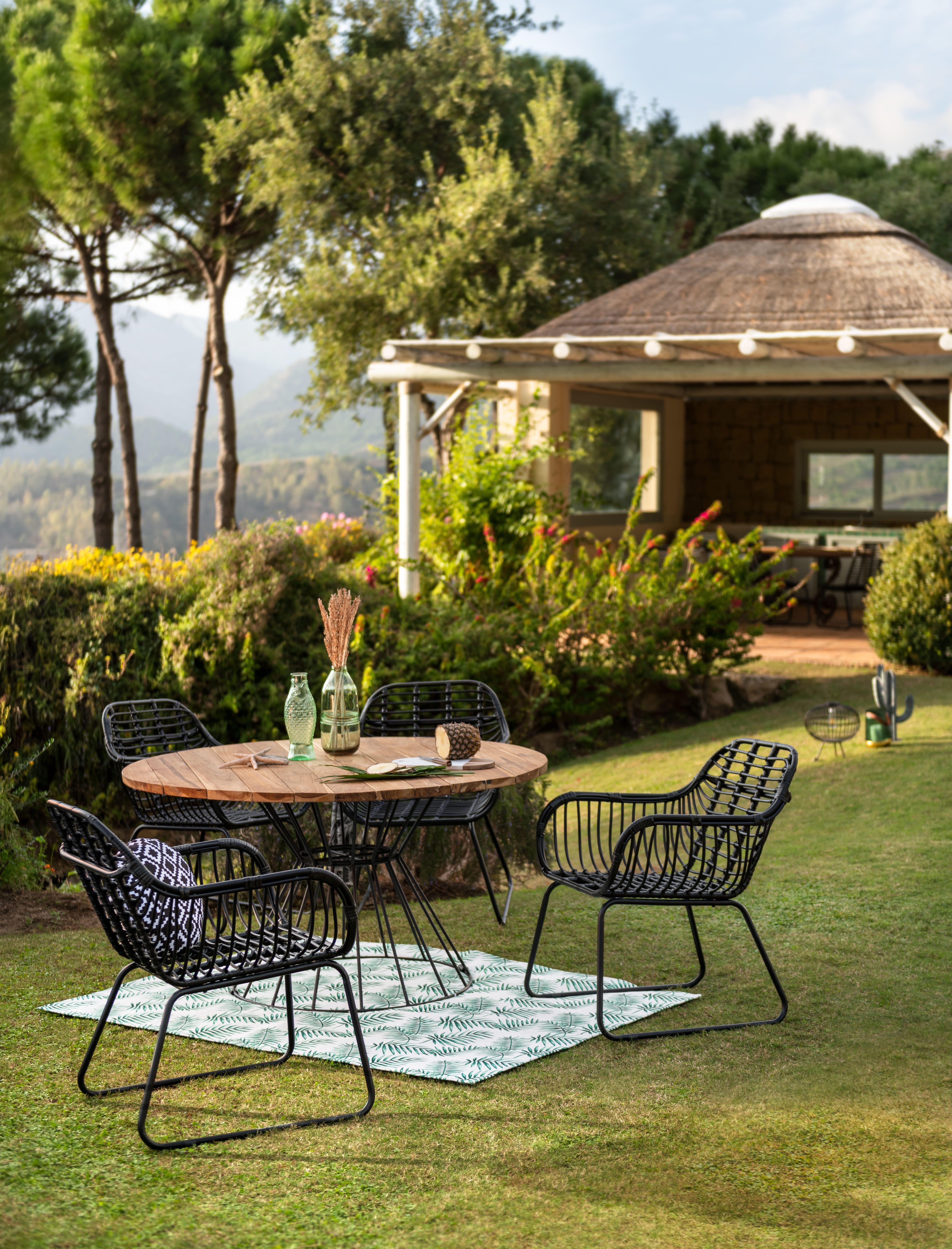 Table Sumatra Ronde Noire Et Naturelle Table De Jardin Gifi Table Basse Jardin Table De Jardin