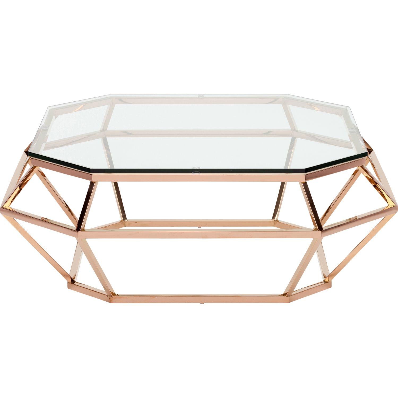 Nuevo Modern Furniture Hgsx182 Diamond Sq Coffee Table W Rose Gold Open Diamond Shape Base Glass Top Glass Gold Table Coffee Table Coffee Table Square