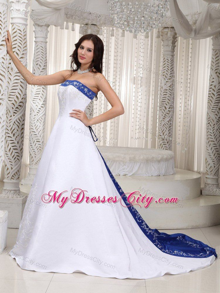 Strapless Court Train Embroidery On Satin Wedding Dress In Royal Blue