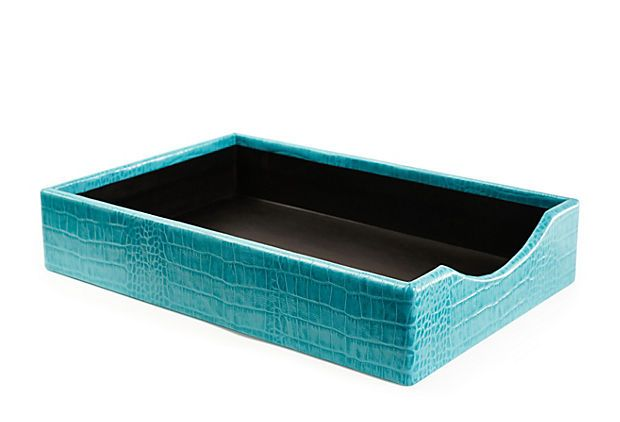 Croc Leather Letter Tray Turquoise Letter Tray Tray Turquoise