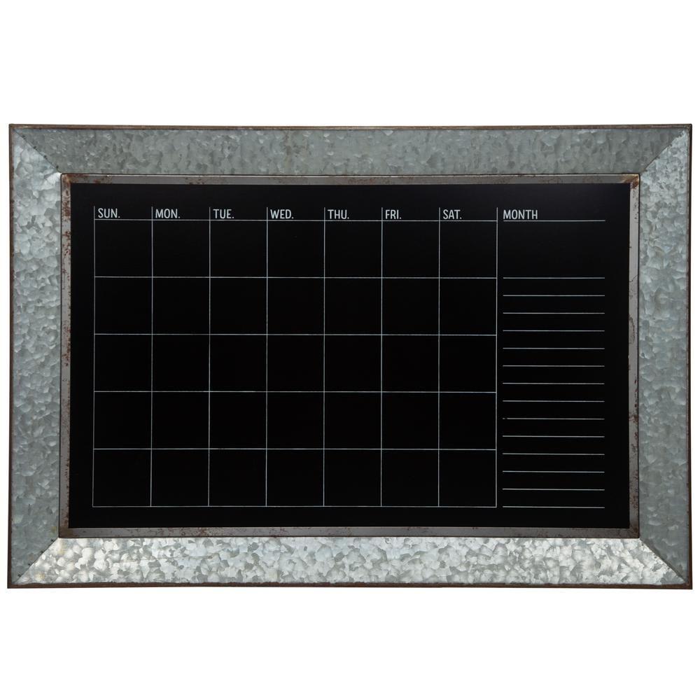 Pinnacle Rustic Galvanized Calendar Silver Chalkboard Memo Board