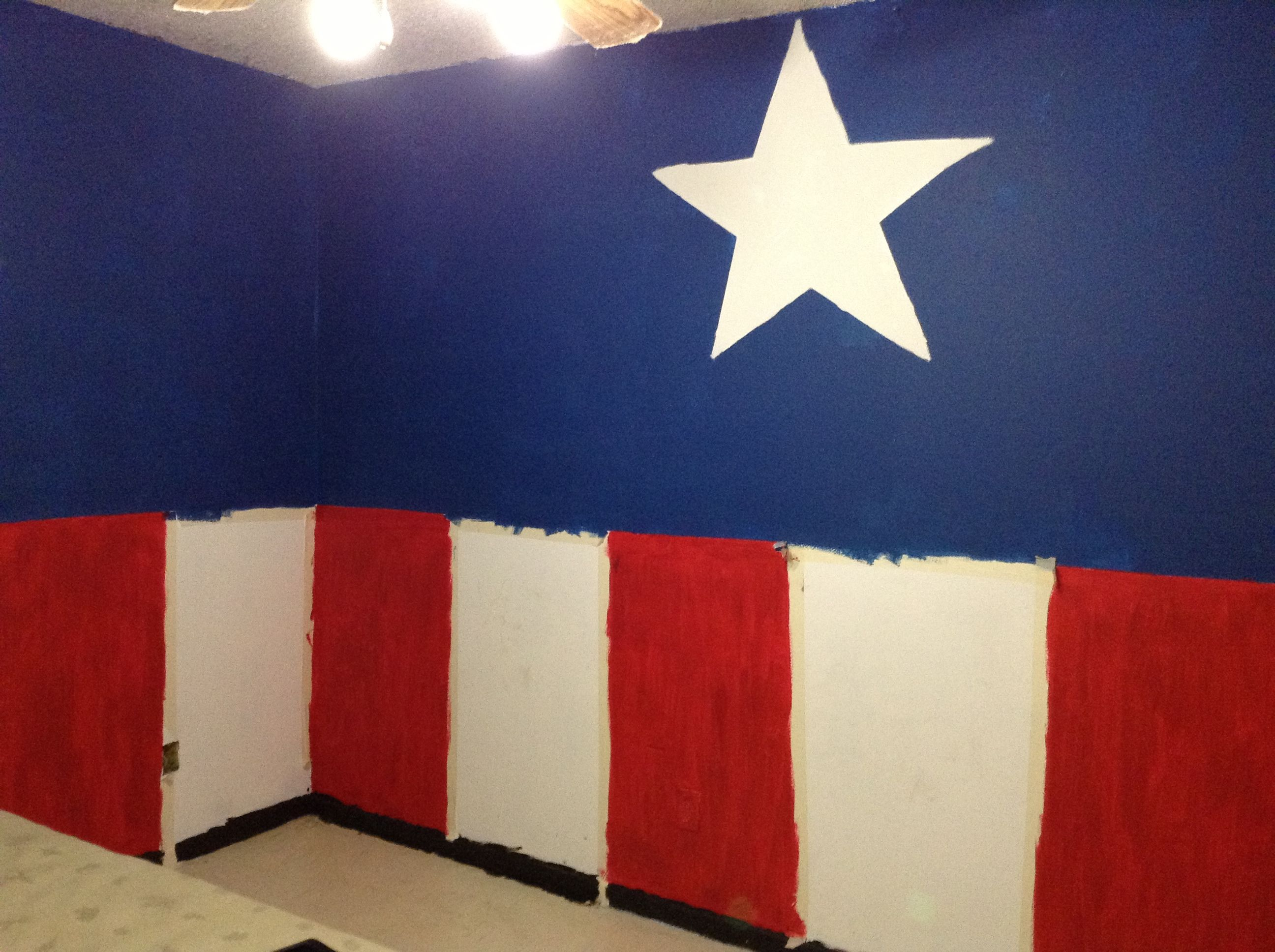 I Wanted To Paint My Room And Since Im A Huge Captain America Fan I Decided  To Paint My Room Like Him
