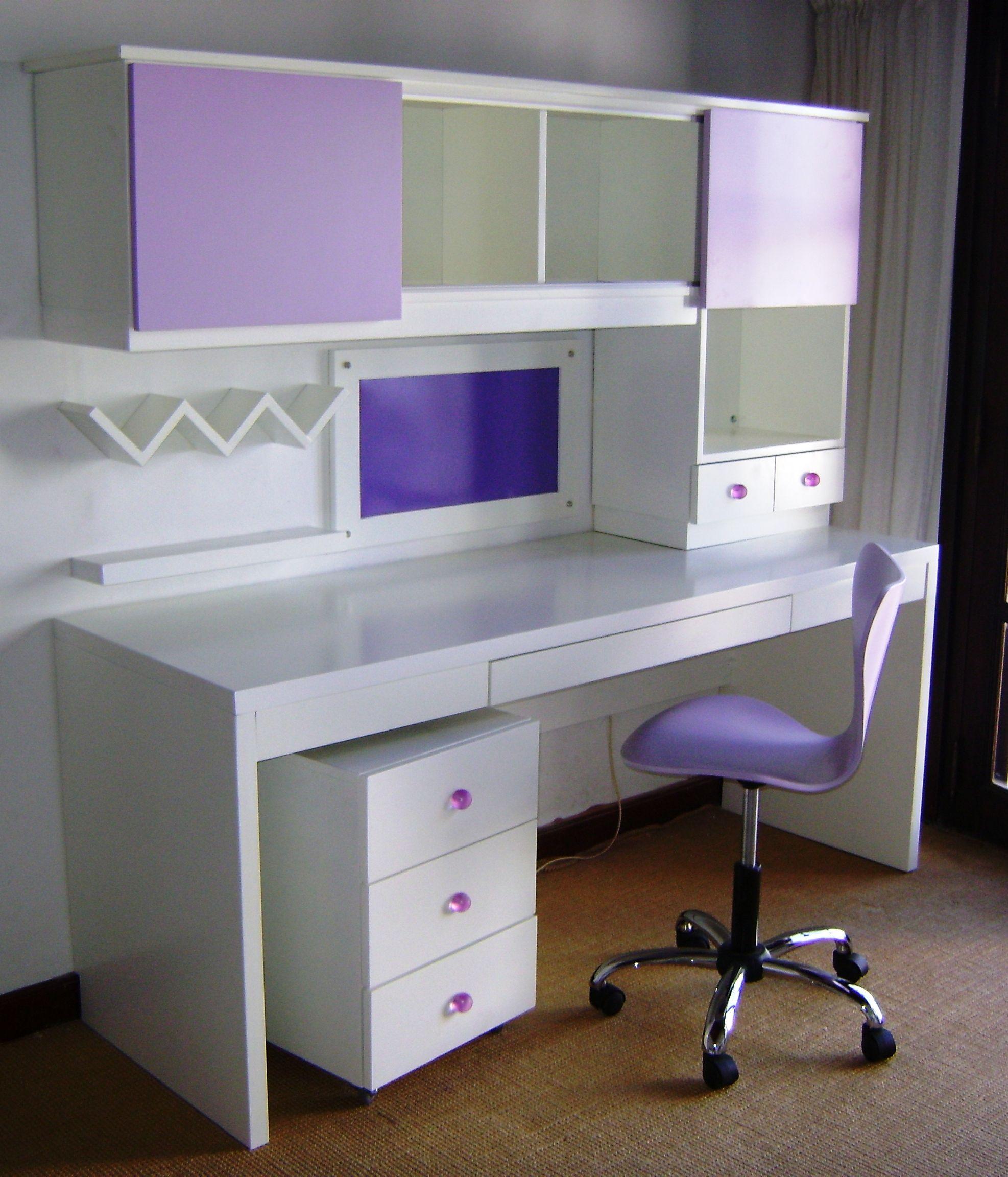 Escritorio ni a blanco y lila my dream workshop - Escritorio habitacion ...