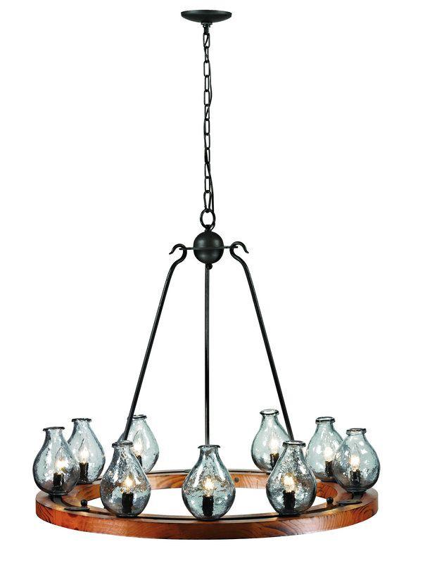 Trans Globe Lighting 70579 Black and Wood Handmade 9 Light Single Tier Chandelier - LightingDirect.com