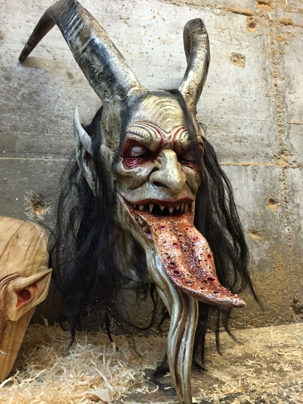 Krampusmask Out Of Wood Oil Painted Moinat Maskenarthur Moinat