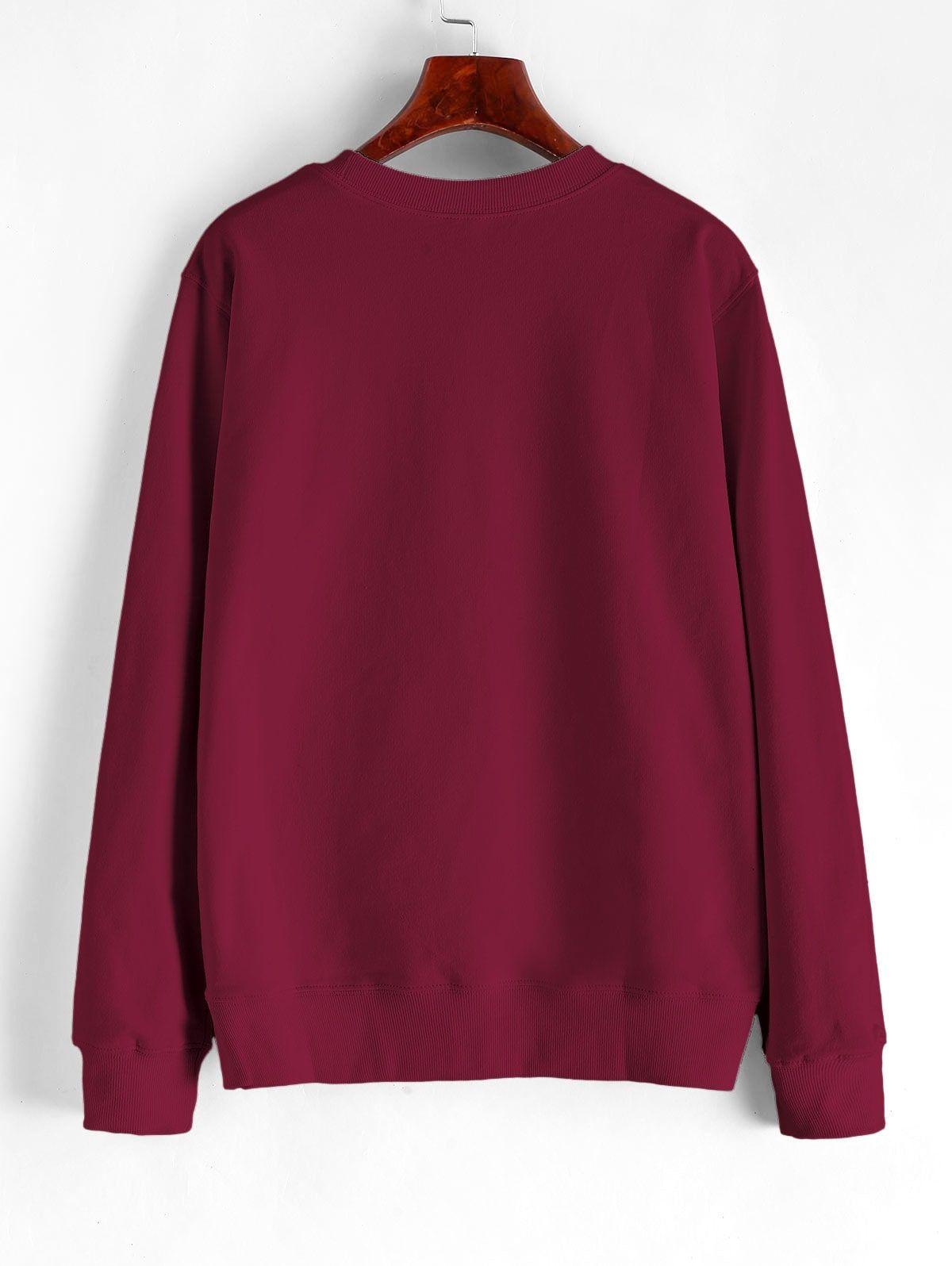 Hand Graphic French Terry Basic Sweatshirt Red Wine Affiliate French Terry Hand Graphic In 2020 Contrast Sweatshirt Faux Fur Sweatshirt Sweatshirt Fashion