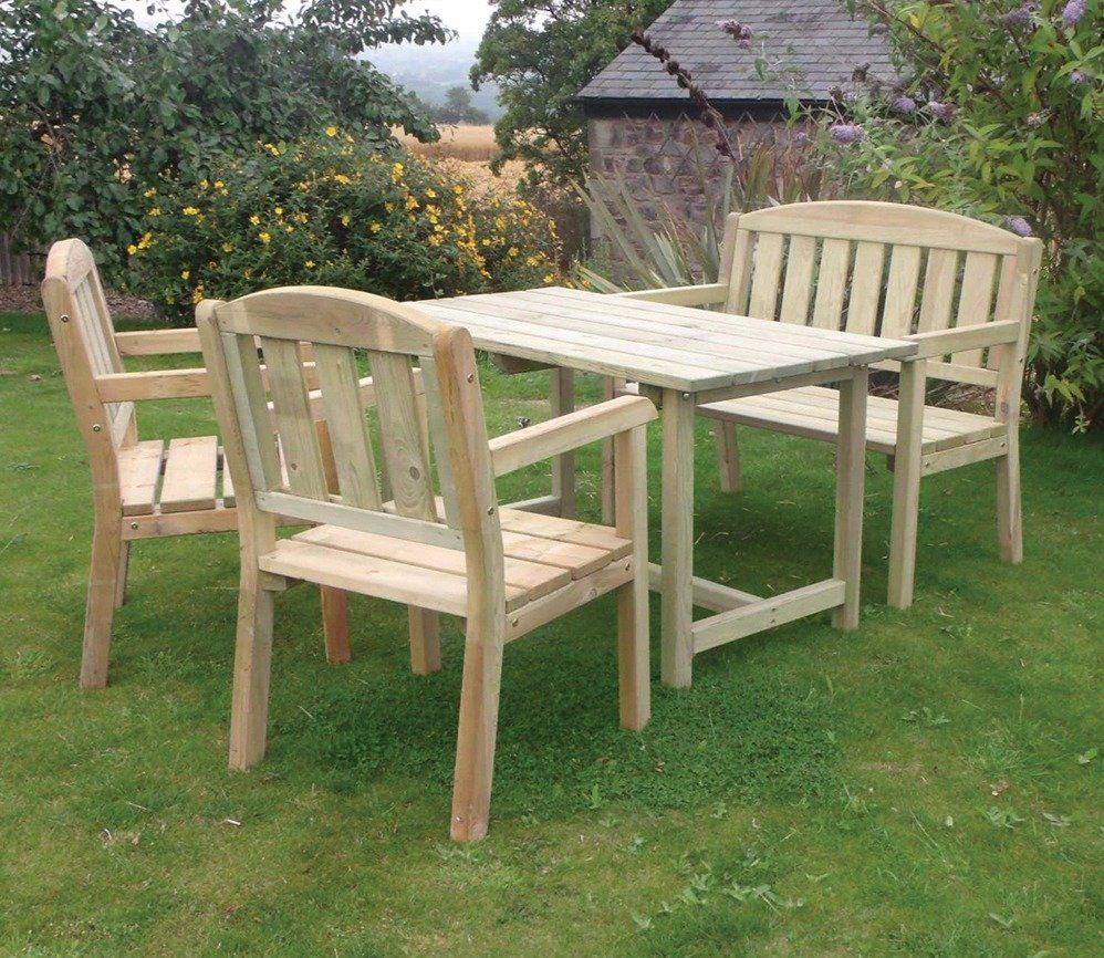 Zest Caroline Table Bench And Chair Set Wooden Garden Table Wooden Garden Furniture Garden Table