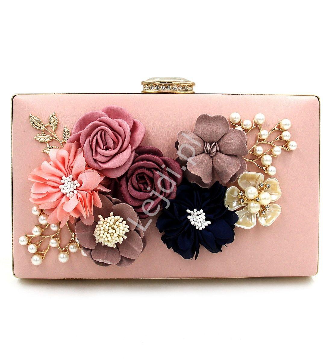 Wyjatkowa Torebka Wieczorowa Z Kwiatami 3d W Kolorze Pudrowego Rozu Z Zapieciem Z Krysztalkami Crystal Evening Bag Evening Clutch Bag Party Handbags