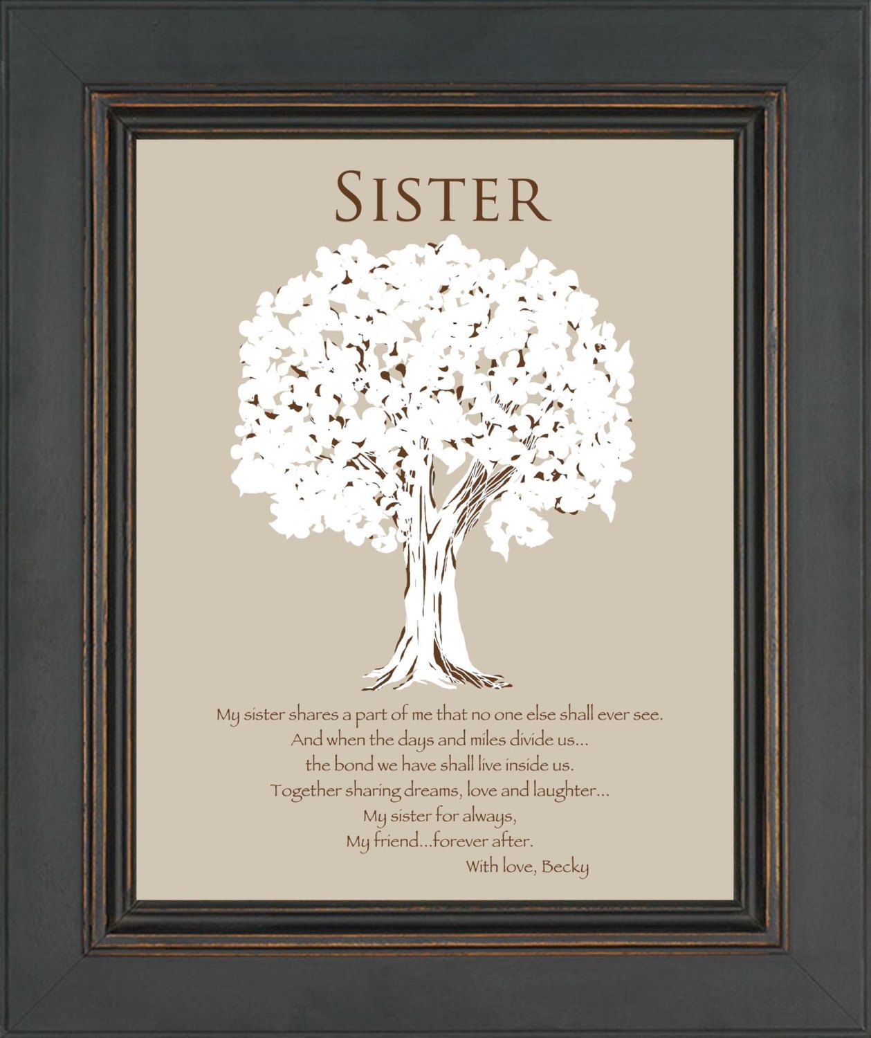 Sister Gift Personalized For Wedding Birthday