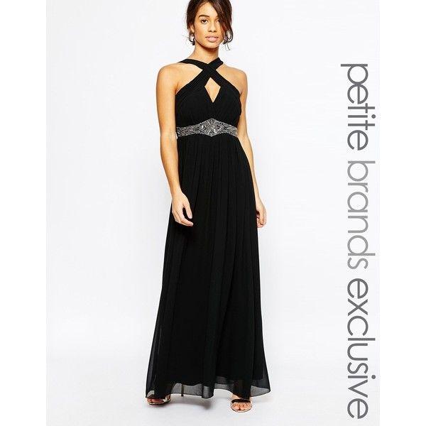 Little Mistress Petite Cross Front Halter Maxi Dress Halter Maxi Dresses Maxi Dress Party Black Chiffon Dress