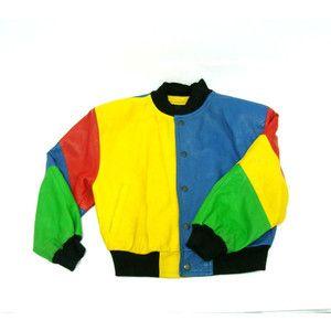 Vintage CESARE COLLECTION Childs Colorblock Red Leather Jacket Vtg ...