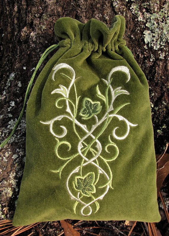 This lovely design is appropriately called Elven Court and features swirling shapes accented with tiny ivy leaves. Machine embroidered design is