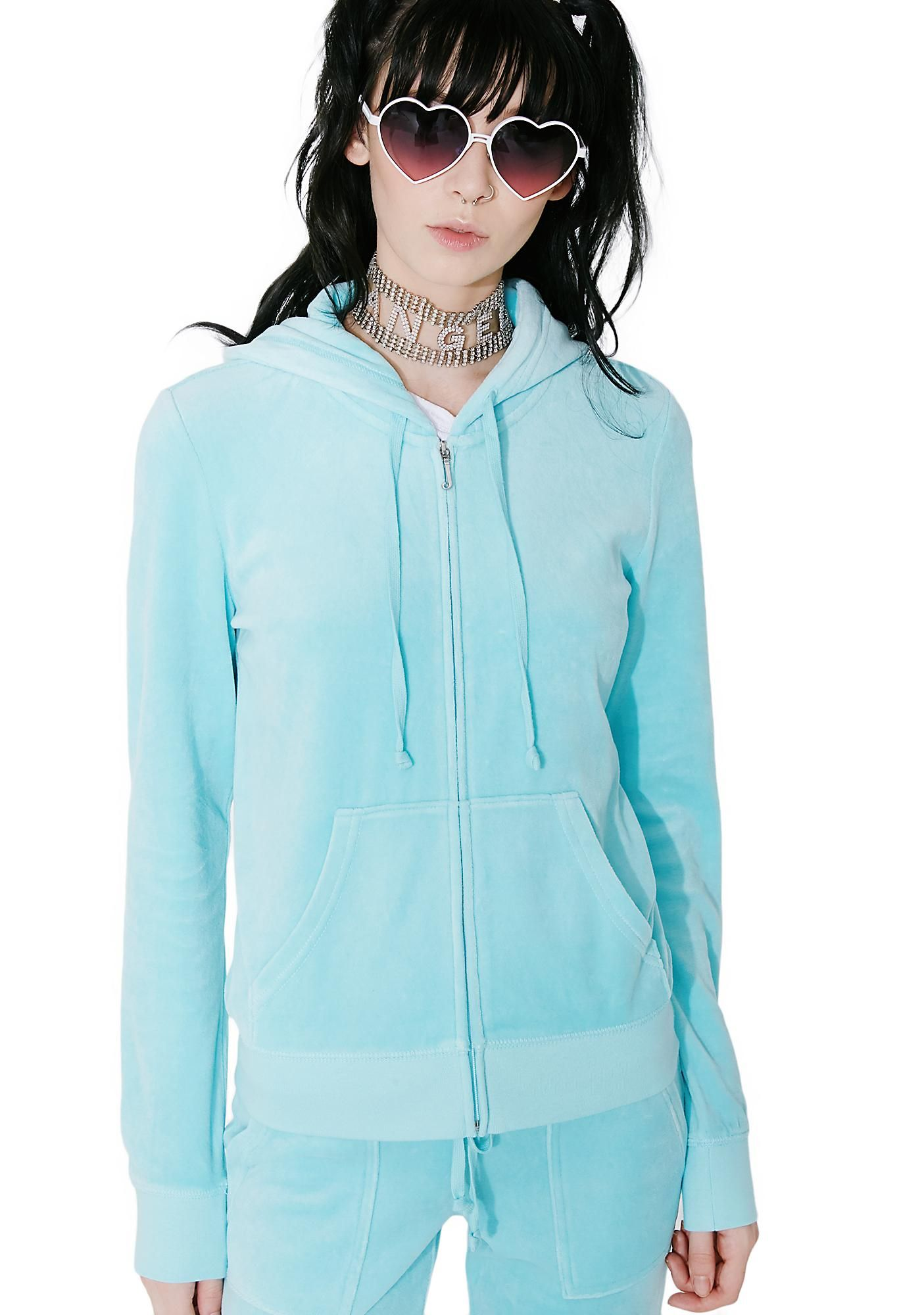 Juicy Couture Sky Robertson Velour Jacket Wants Ya To Feel Like A 00 S It Girl This Comfy Light Blue Jacket Has Velour Jackets Comfy Jackets Light Blue Jacket