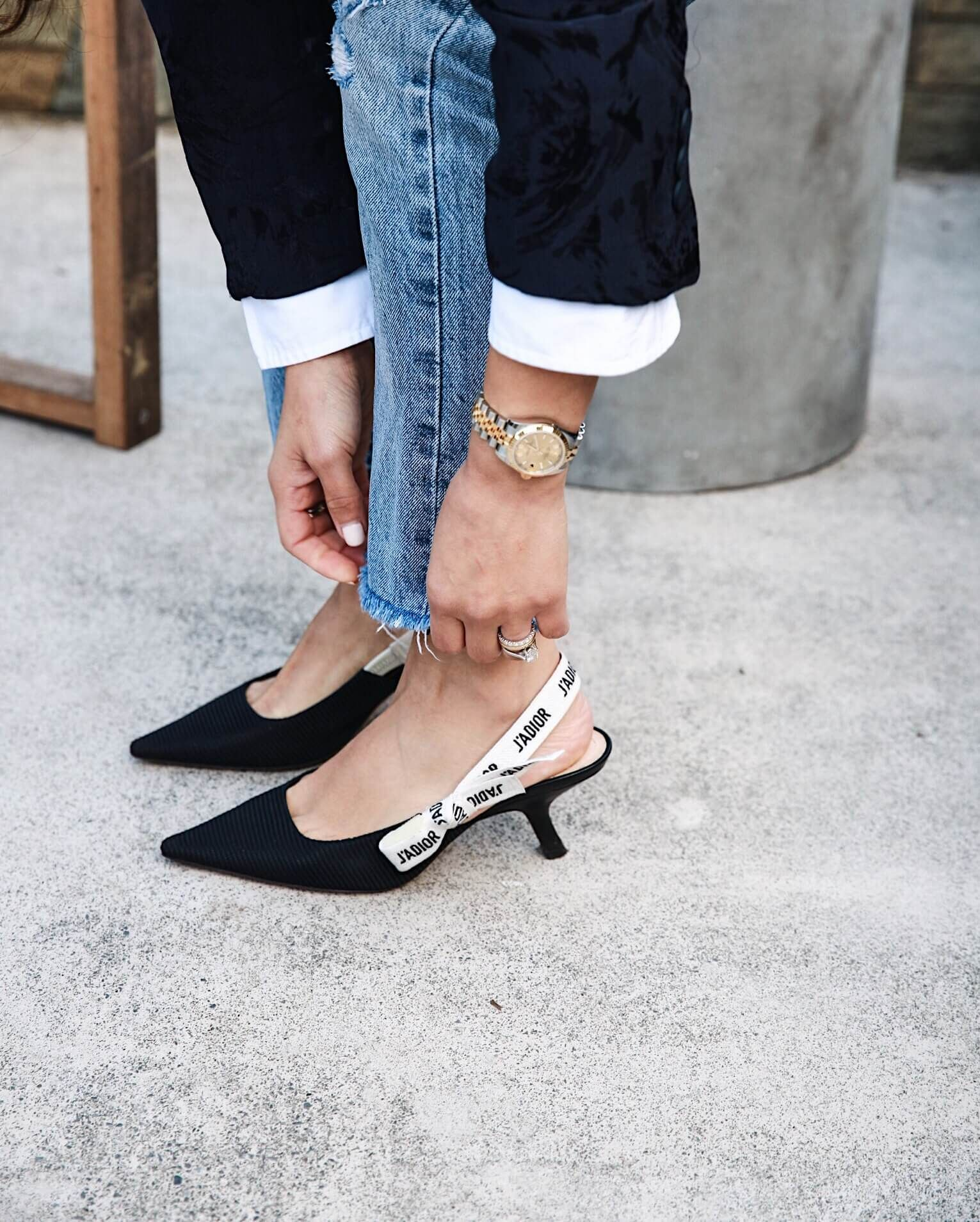 Friday Casual Work Outfit Simply Sona Kitten Heels Outfit Heels Outfits Dior Shoes