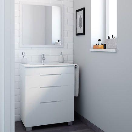 Asimétrico Blanco 70 X 45 Cm Leroy Merlin Muebles De Lavabo Muebles De Baño Lavabos