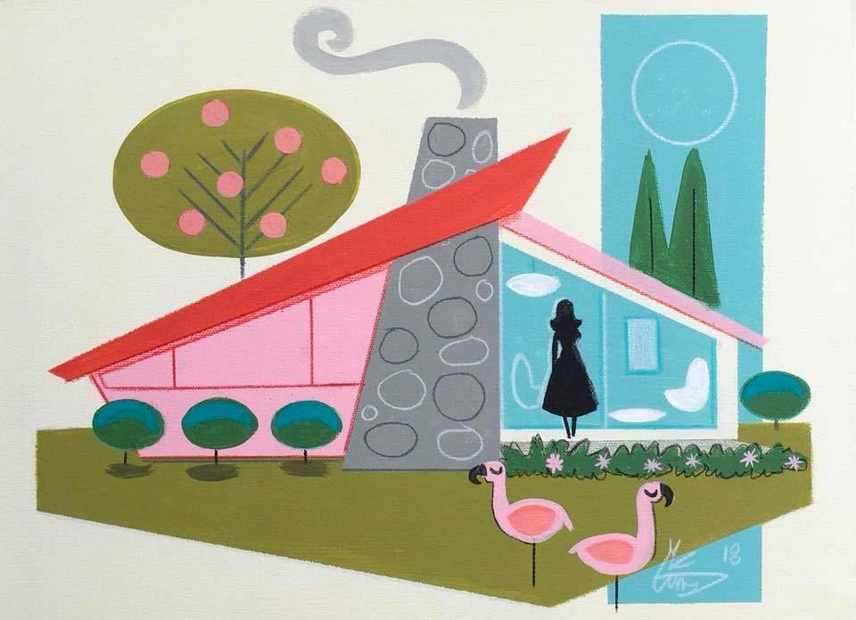 MID-CENTURY HOUSE ILLUSTRATION | Mid century art, Flamingo ...