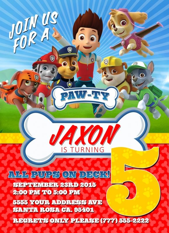 Paw patrol birthday invitations free printable for Paw patrol invitation template free