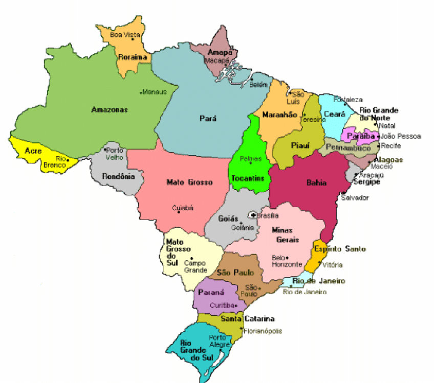 Map Of The 26 Brazilian States And The Federal District Of Brasilia Brazil Map Brazilian States Federal District