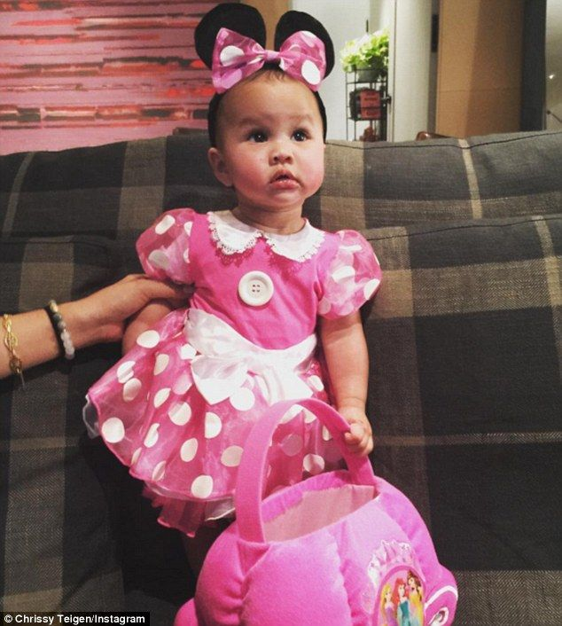 Oh so pretty in pink The little one also modelled a Minnie Mouse costume .  sc 1 st  Pinterest & Chrissy Teigen and John Legend dress up baby Luna for Halloween ...