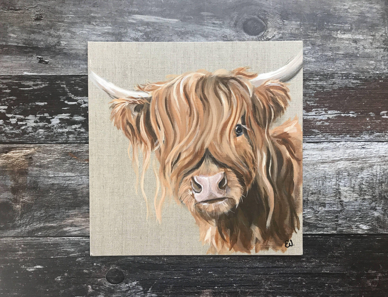 Original Acrylic Highland Cow Painting Cow Cow Art Animal Etsy Highland Cow Painting Cow Painting Highland Cow Art