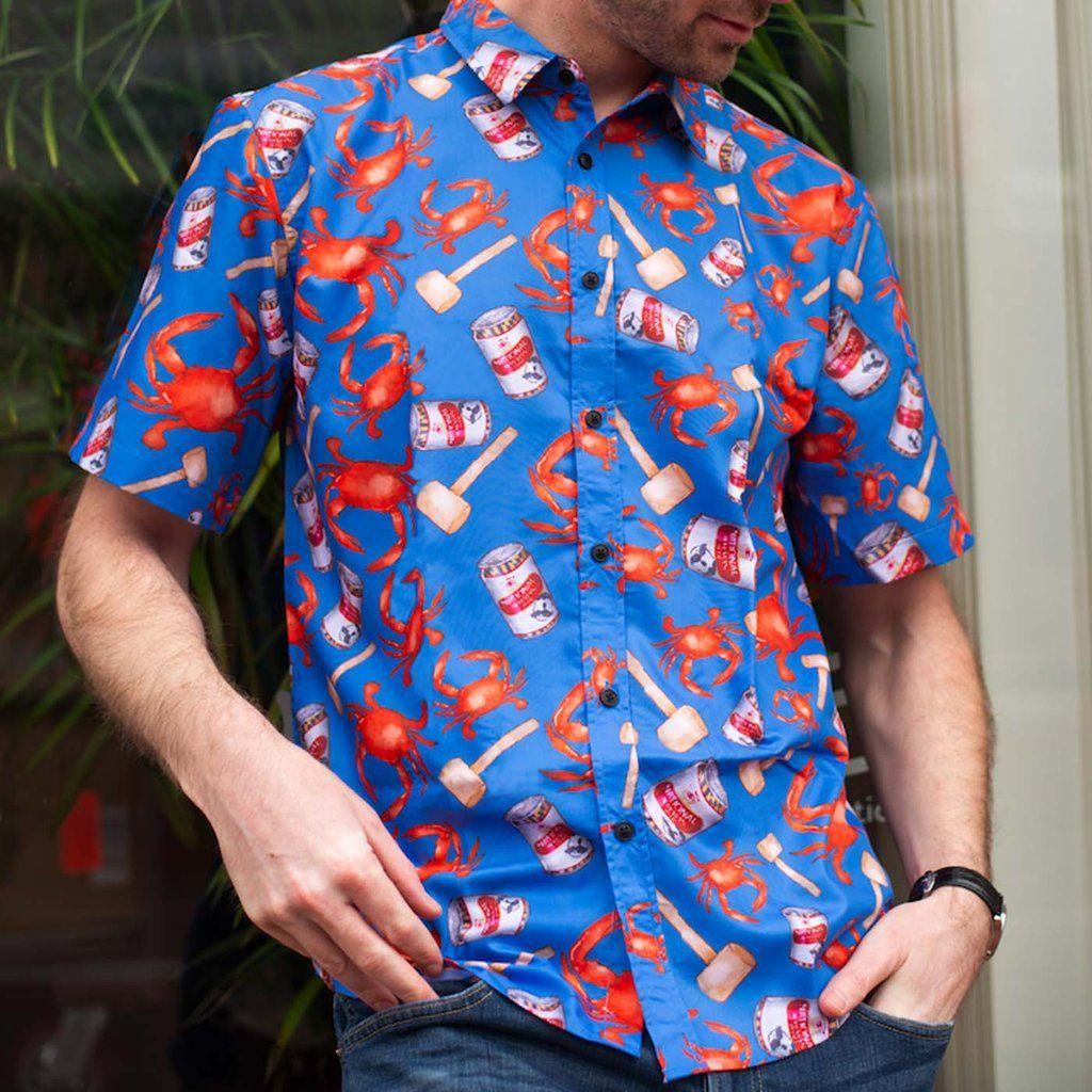 329ebced Crab, Mallet & Natty Boh (Light Blue) / Hawaiian Shirt #Baltimore #Hawaiian- Shirts