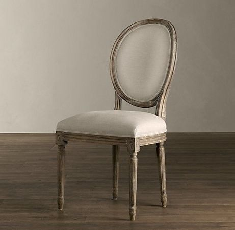 Vintage French Round Upholstered Side Chair Traditional Dining Chairs And  Benches