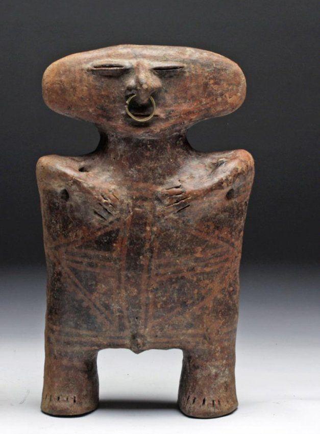 "Pre-Columbian, Ecuador, ca. 1000-1400CE. Known as the Caldas Complex ceramics, archaeologists call these sculptures ""slab-headed"" figurines."