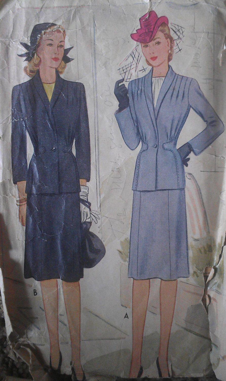 Vintage anni 40 incastrato vitino sagomati riuniti spalla vestito giacca Sewing Pattern 5511 B40 di VtgFashionLibrary su Etsy https://www.etsy.com/it/listing/185640345/vintage-anni-40-incastrato-vitino