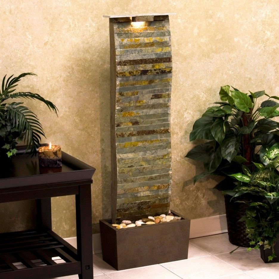 Great Fetching Living Room Stone Floor Standing Interior Waterfall