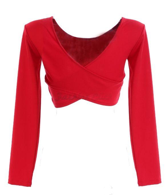 2015 Summer Backless Womens Crop Top Bandage T Shirt New Fashion Long Sleeve Women Cross T-shirt Short Crop Tops 3 Colors FC13