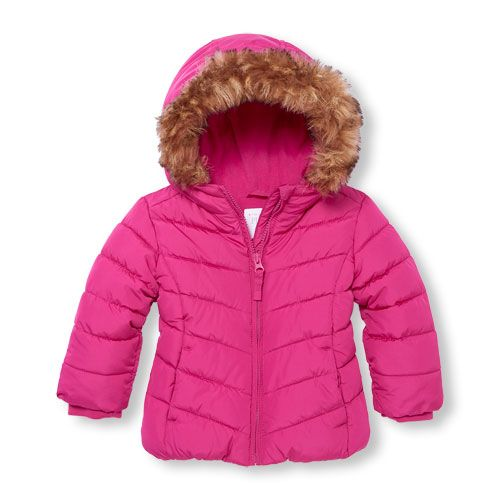 868e6c276 s Toddler Long Sleeve Solid Faux Fur Hooded Lightweight Puffer Jacket -  Pink - The Children's Place