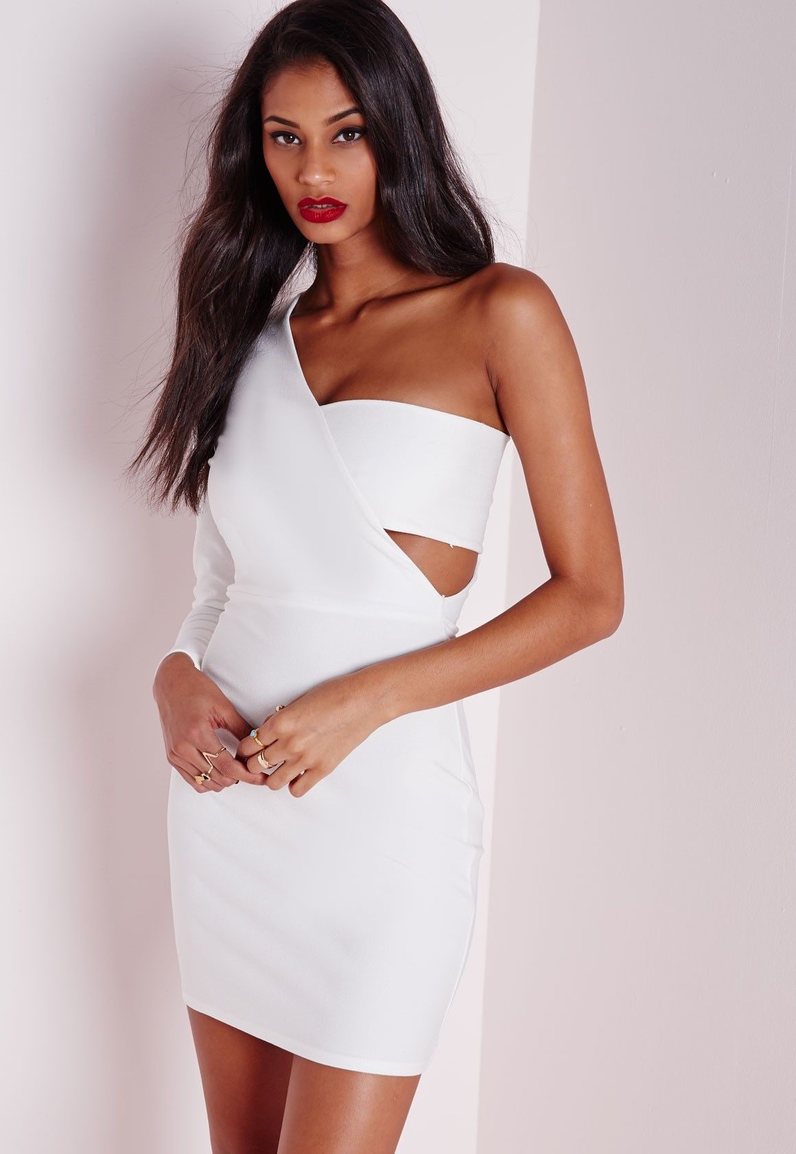 9b90d9c20f79c Missguided - Crepe One Shoulder Bodycon Dress White