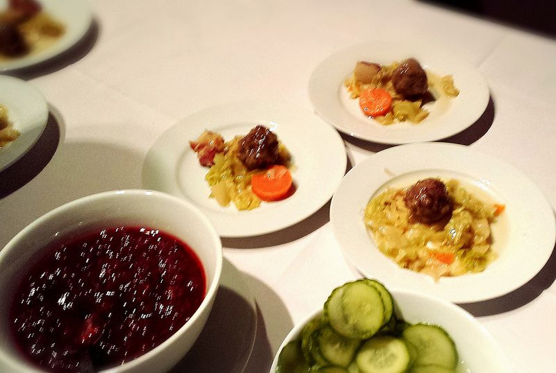 Swedish Meatballs with Lingonberry Sauce and Pickles from Red Rooster #MarcusSamuelsson #Foodie #Swedish #FoodEvent #BronxBenefit #NYC