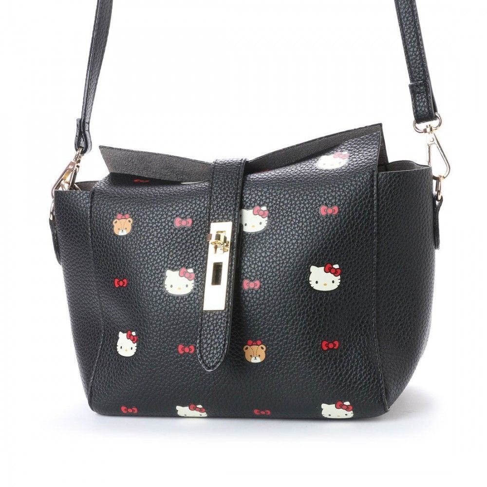 78dbb8ef72 Hello Kitty Hallmark Shoulder Bag w  Pouch Purse Black Sanrio from Japan  L2203