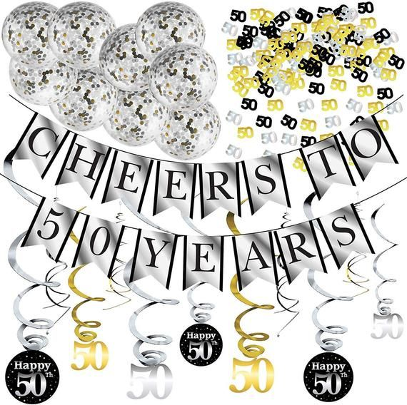 50th Birthday Party Decorations and Anniversary Pack – Cheers to 50 Years Banner, Balloons, Swirls a #50thbirthdaypartydecorations