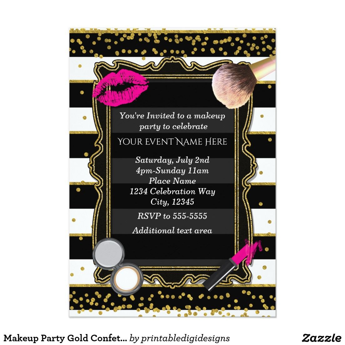 Makeup Party Gold Confetti & Stripes Glamour Invitation