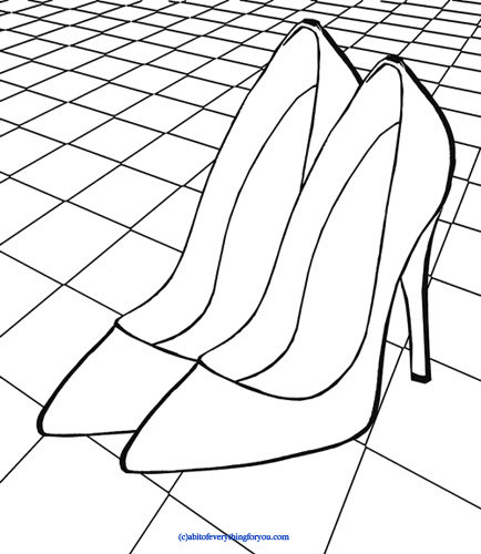 high heel shoes on dance floor art coloring page checkers