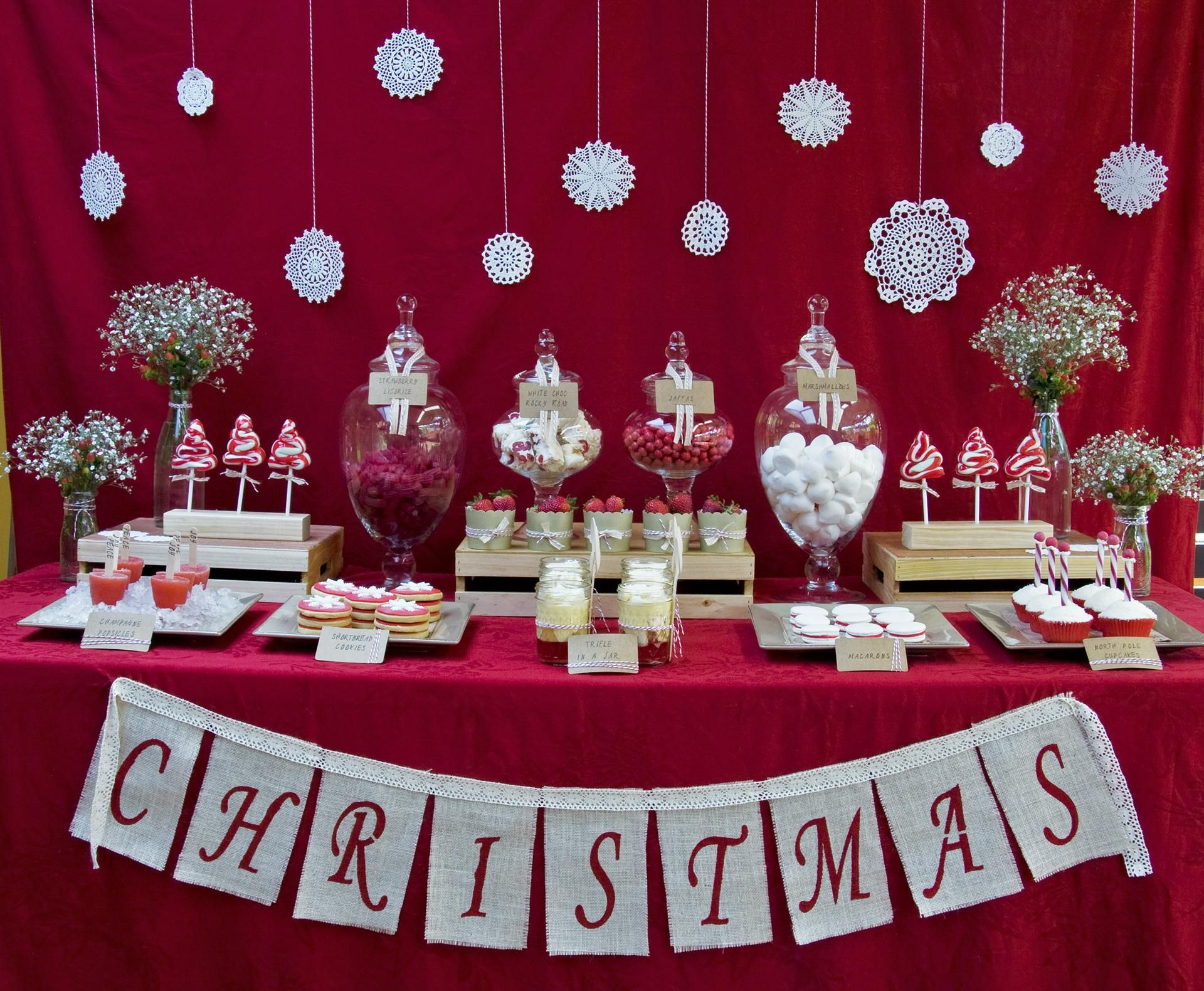 Christmas dessert table decoration ideas - Holiday Decorating Flower Walls For Dessert Tables Christmas Dessert Table Recipes Table Featured In Breeze Magazine