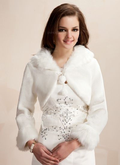 875d7915b Wraps - $29.99 - Long Sleeve Faux Fur Wedding Wrap (013020419) http:/