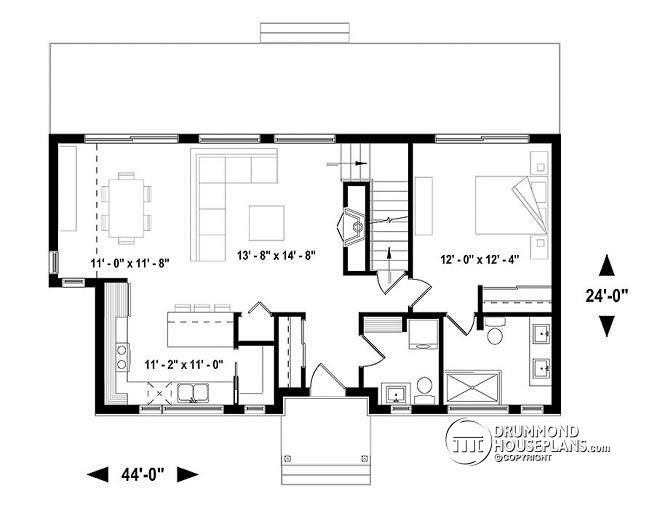 W3988-V1 - Modern Farmhouse home plan with open concept, great - des plans des maisons modernes