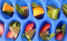 Ice Cubes with Fruit and Fresh Herbs.