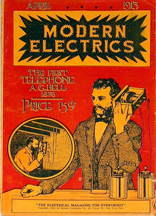 Modern Electrics 1913 04 Vintage Illustration American