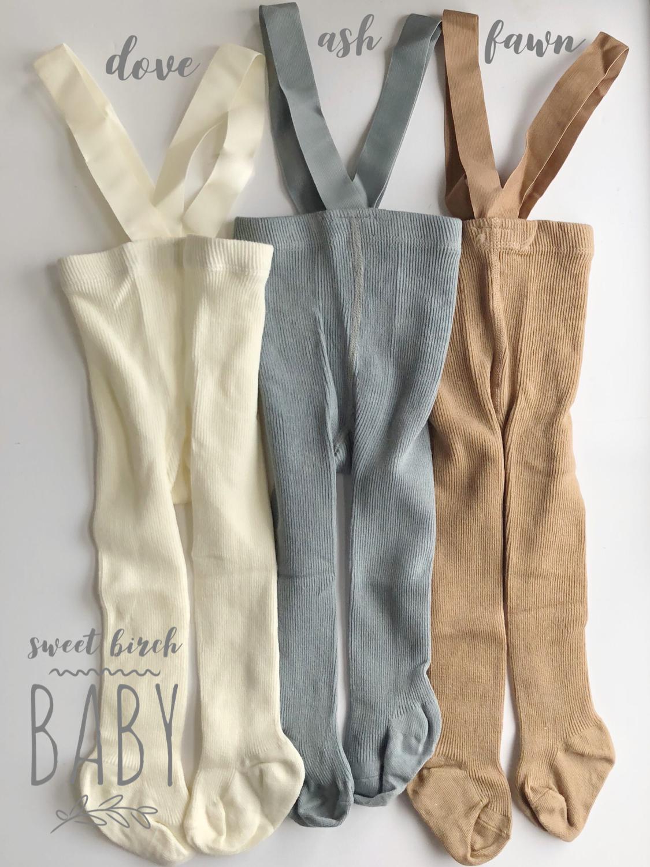 4990afafec8 Suspender baby tights for baby boys or girls. Baby shower gift. Baby  suspenders. Ellis Suspender Tights. Sweet Birch Baby.