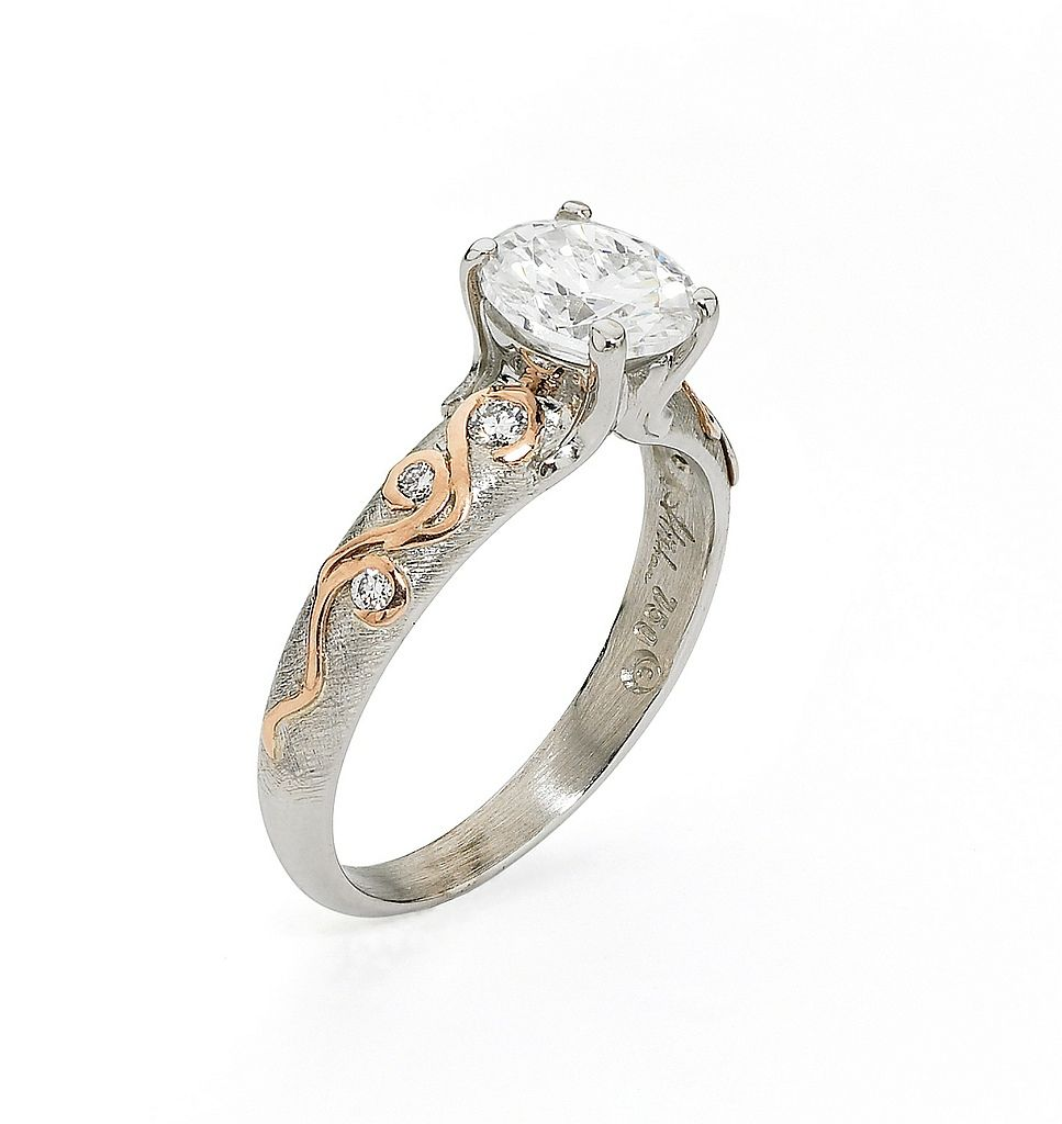 semi-mount 18kt white and rose gold engagement ring by alishan ...