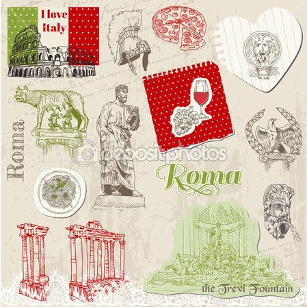 Set of Rome doodles - for design and scrapbook - hand drawn in v — Imagen vectorial #10999601