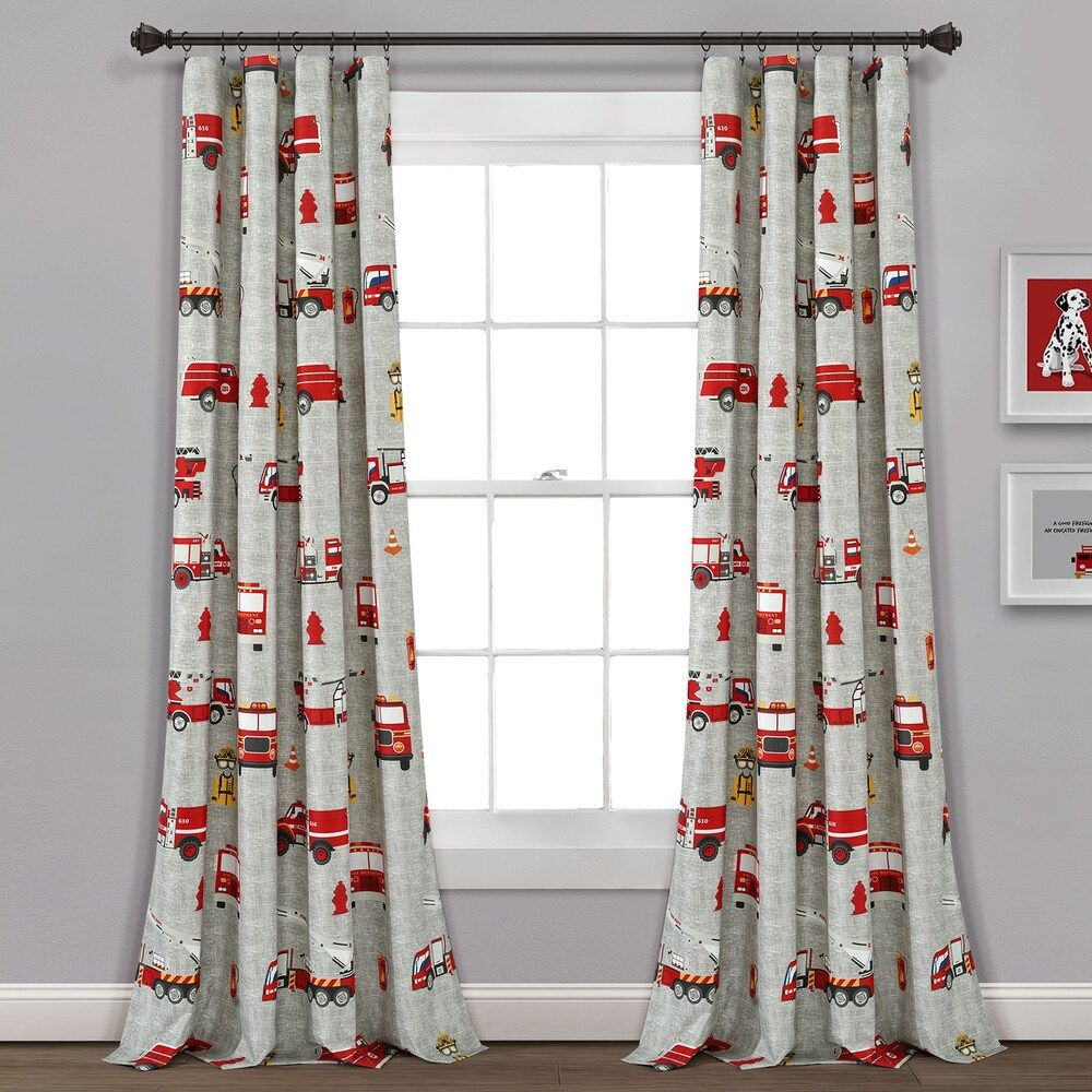 Lush Decor 2 Pack Fire Truck Window Curtain Set Grey 84x52 In 2020 Curtains Panel Curtains Decor