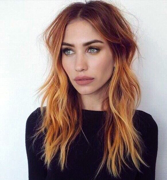 Love this red hair Balayage, copper, redhead, green eyes, dark roots ...