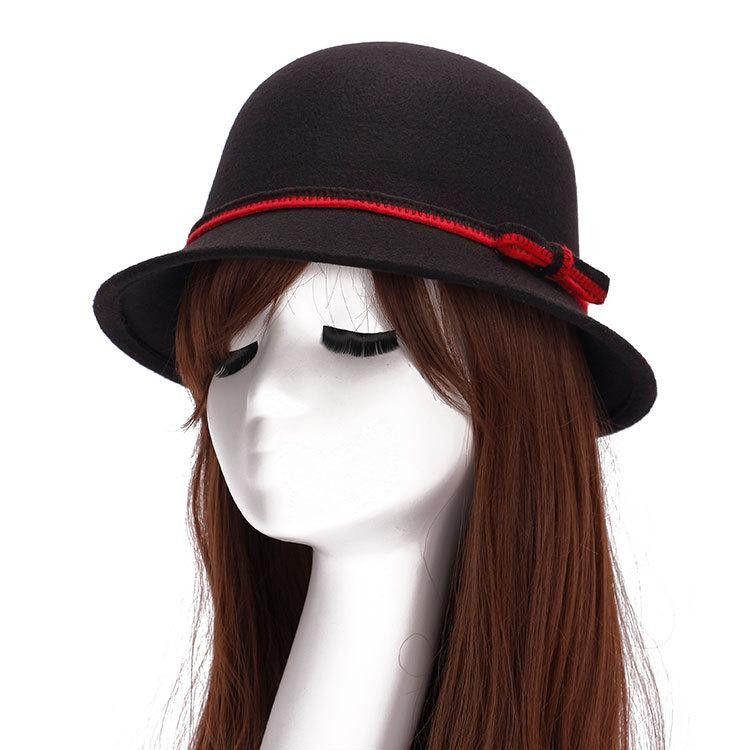 585a5a5107b60 NEW Fall Winter Women s Fedora Caps Vintage Sun Hats For Woman Ladies Wide  Brim Wool Felt Bowknot Cloche Chapeu Hat For Women